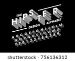 vector of stylized layered font ... | Shutterstock .eps vector #756136312