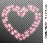 valentines day card. glowing... | Shutterstock .eps vector #756146056