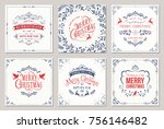 ornate square winter holidays... | Shutterstock .eps vector #756146482