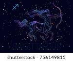 sagittarius zodiac sign. archer ... | Shutterstock .eps vector #756149815