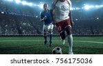 soccer player kicks the ball on ... | Shutterstock . vector #756175036