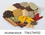 assorted spices spices on white