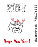 happy 2018 new year card. funny ... | Shutterstock .eps vector #756176986