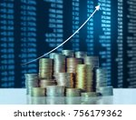 investment concept  coins graph ... | Shutterstock . vector #756179362