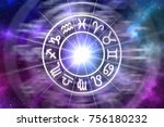 zodiac signs inside of... | Shutterstock . vector #756180232