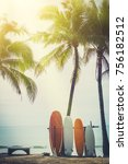 surfboard and palm tree on... | Shutterstock . vector #756182512