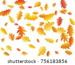autumn leaves flying and... | Shutterstock .eps vector #756183856