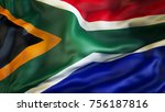 waiving flag of south africa | Shutterstock . vector #756187816