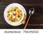 chicken soup with noodles ... | Shutterstock . vector #756192322