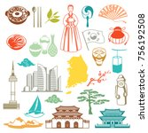 korea icons set. korean... | Shutterstock .eps vector #756192508