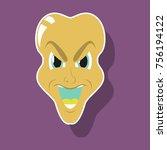 paper sticker on theme evil face   Shutterstock .eps vector #756194122