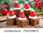 santa hat brownie  christmas... | Shutterstock . vector #756194872