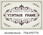 vintage frame with beautiful... | Shutterstock .eps vector #756195775