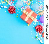red gift box various party...   Shutterstock . vector #756197605