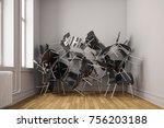small room with many chairs in... | Shutterstock . vector #756203188