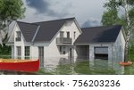 flooded house with boat outside ... | Shutterstock . vector #756203236