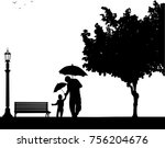 father walking under the... | Shutterstock .eps vector #756204676