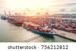 container container ship in... | Shutterstock . vector #756212812