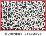 close up wooden alphabet study... | Shutterstock . vector #756215926