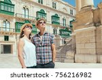 couple on a tourist journey... | Shutterstock . vector #756216982