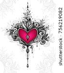 handmade zen tangle heart with... | Shutterstock .eps vector #756219082