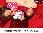 kids in pajamas lie with teddy... | Shutterstock . vector #756222166