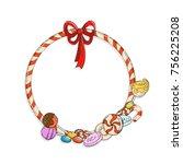 label sweet shop. swirl candy ...   Shutterstock . vector #756225208