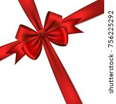 red gift bow and ribbon. | Shutterstock .eps vector #756225292