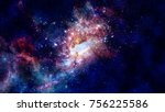 glowing spiral galaxy. elements ... | Shutterstock . vector #756225586