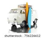3d illustration. surfing van... | Shutterstock . vector #756226612