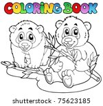 coloring book with two pandas   ... | Shutterstock .eps vector #75623185