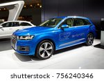 Small photo of BRUSSELS - JAN 12, 2016: Audi Q7 e-tron plug-in hybrid SUV car showcased at the Brussels Motor Show.