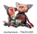 handmade rag doll cute cats... | Shutterstock . vector #756241285