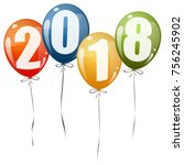 colored balloons with numbers...   Shutterstock .eps vector #756245902
