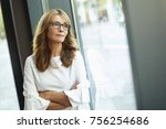 portrait of a mature woman... | Shutterstock . vector #756254686