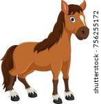 cute horse cartoon   Shutterstock .eps vector #756255172