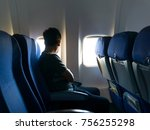 passenger in jet plane look out ... | Shutterstock . vector #756255298