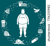 fat man with unhealthy... | Shutterstock .eps vector #756255982