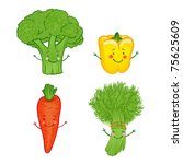 funny vegetables vector icon... | Shutterstock .eps vector #75625609