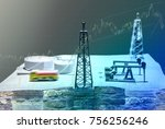 shale gas drilling and stock... | Shutterstock . vector #756256246
