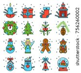 set of christmas and new year... | Shutterstock .eps vector #756260002
