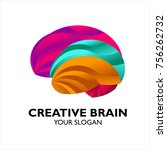 creative colorful brain logo | Shutterstock .eps vector #756262732