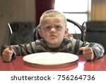 upset little boy waiting for... | Shutterstock . vector #756264736