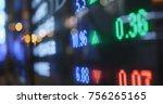 stock market display at night | Shutterstock . vector #756265165