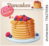 pancakes with berries and honey ... | Shutterstock .eps vector #756270586