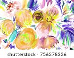 hand made floral watercolor...   Shutterstock . vector #756278326