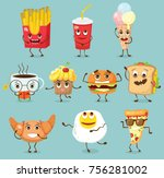 cartoon funny food characters... | Shutterstock .eps vector #756281002