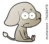 cartoon unsure elephant sat on... | Shutterstock .eps vector #756286978