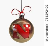 Golden Christmas Ball Font Wit...