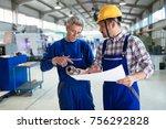 engineer teaching apprentices... | Shutterstock . vector #756292828